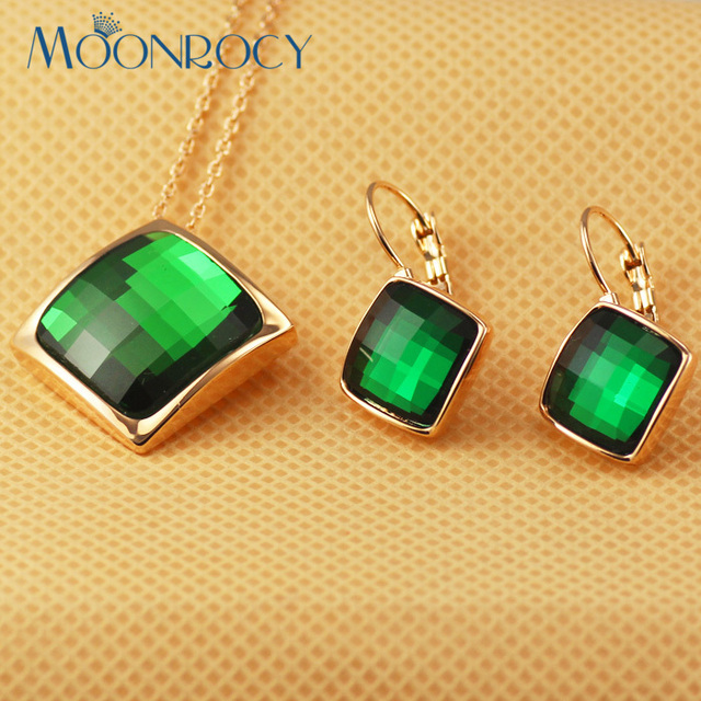 MOONROCY Free Shipping  Necklace and Earrings Jewelry set  Rose Gold Color green Austrian Crystal Jewelry Set for women Gift