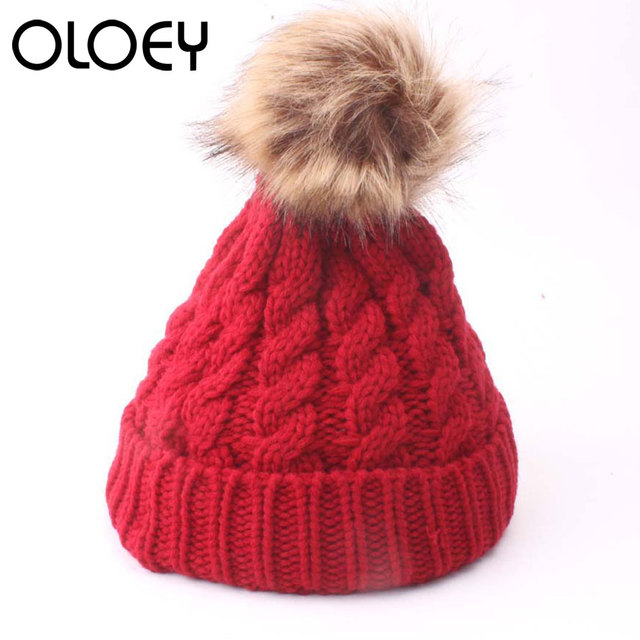 Fashion Knitting Baby Hat Cotton Pompom Bobble Hat Winter Boys Baby Clothing Girls Caps Artificial Fur Children Hats accessorie