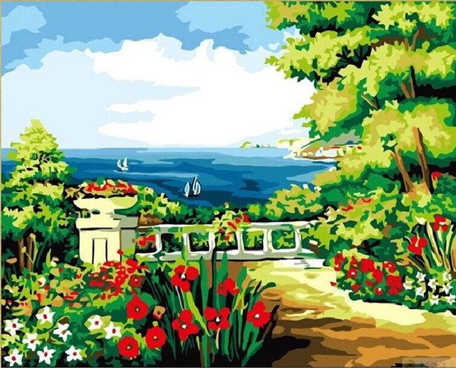 oil painting style garden flower wallpaper landscape painting canvas acrylic painting rural landscape G250