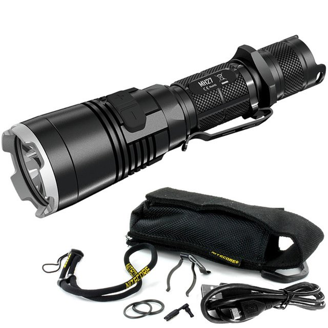 NITECORE MH27 Tactical Flashlight XP-L HI V3 LED max 1000 lumen USB rechargeable torch beam throw 462 meter Red Green Blue light