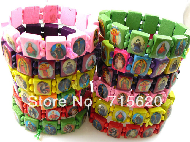 36pcs Jesus Religious Wooden Bracelets/Wristbands Wholesale Fashion Jewelry lots