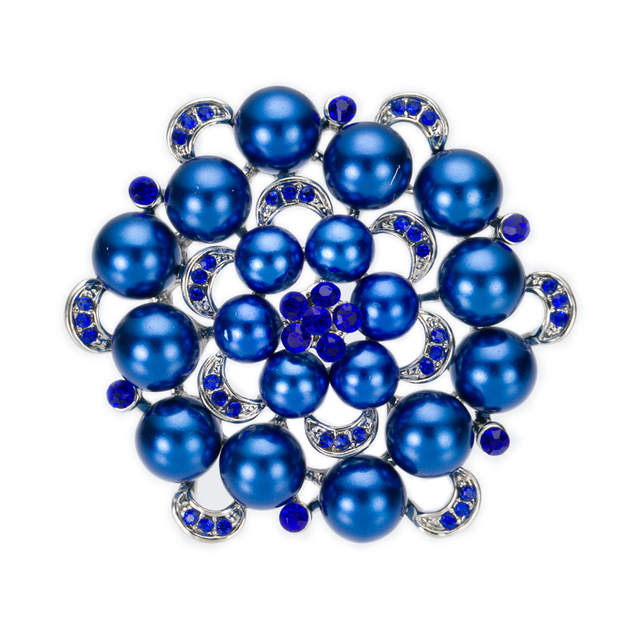 2 Inch Large Floral Wedding Bouquet Brooch with Crystals and Royal Blue Pearls