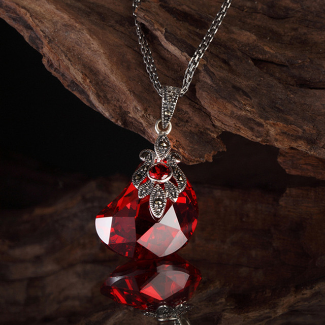 925 Sterling silver women jewelry irregular geometry red vintage Natural stone water drop shape garnet big Pendant with chain