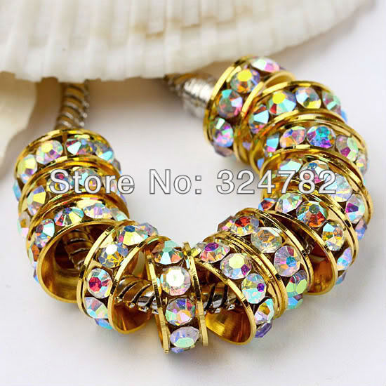 100PCS 10mm Gold Color AB Crystal Rhinestones Spacer Beads,European Big Hole Beads, Charm Beads Jewelry Findings