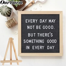 "OurWarm Funny DIY Felt Letter Board Sign Pink Black Grey Changeable Message Board With Holder Wedding Home Decoration 10""x10"""
