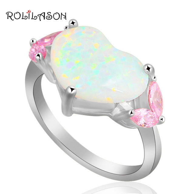 Heart Design Pink Zircon Women fashion women jewelry White fire Opal stamped Silver Rings USA size #7.75 OR632