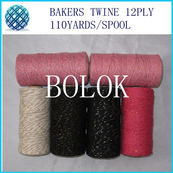 10pcs/lot add all kinds metallic Cotton Baker twine for gift packing (11 kinds color),gold twine, metal spool