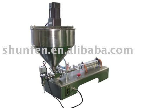 (free shipping) One-head Paste Filling Machine with Stirrer  (cream filler with agitator, pneumatic sauce filler with mixer)
