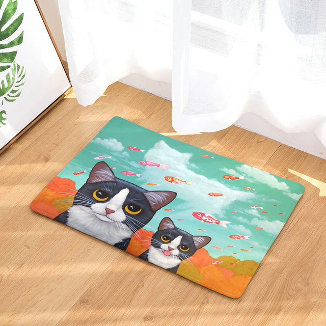 Kitchen Rug Anti-Slip Waterproof Door Mat Cute Cat Eat Food Fish Pig Carpets Bedroom Rug Decorative Stair Mats Home Decor Craft