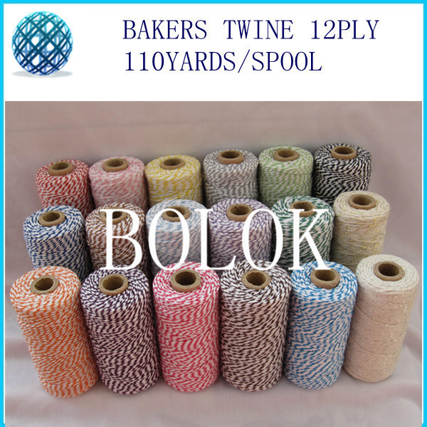 Cotton Baker twine for gift packing 110yards/spool (55kinds color) 1000pcs/pack,by  free shipping
