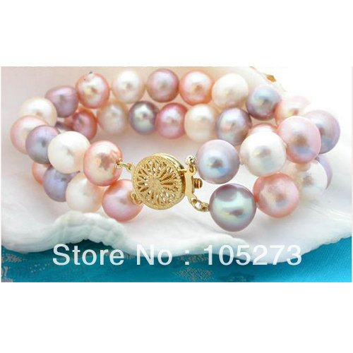 Wholesale Pearl Jewelry Rare Natural 2 Strands 10-11mm Round White Pink Natural Freshwater Pearl Bracelet Top Quality Jewelry