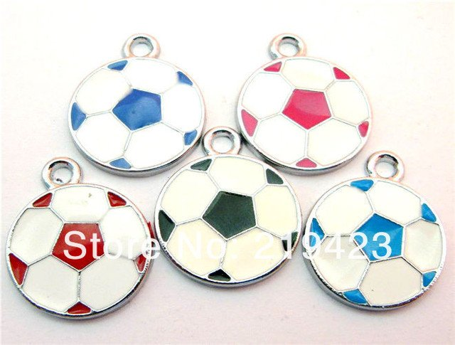 50pcs 19x19mm mix color Football DIY Hang Charms Pendands Jewelry accessories Fit cellphone