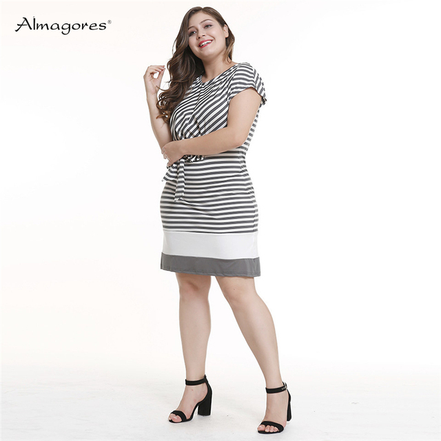 Women Black White Striped Short Sleeve Dress Knee-Length Housewife Casual Straight Round Neck Big Size Dress Lace up Dress 4XL