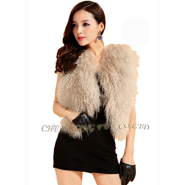 CX-G-B-51Genuine Mongolian Lamb Sheep Fur Vest Ladies Sexy Short Gilet Winter Coat Fur Jacket