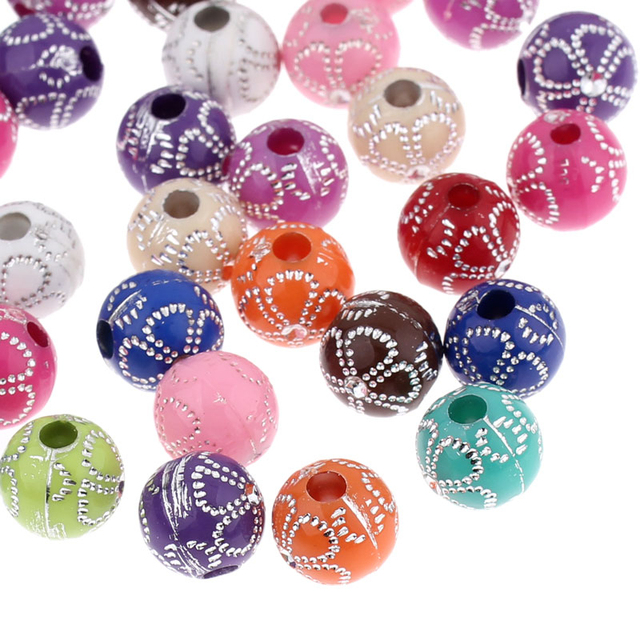 DoreenBeads Acrylic Spacer Beads Round Mixed Flower Pattern 10mm Dia,Hole:Approx 3mm,200PCs (B23568), yiwu