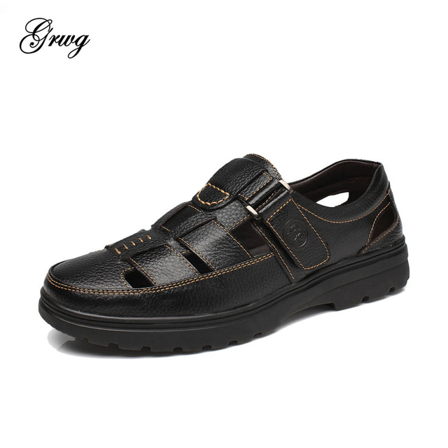 GRWG New Fashion Summer Beach Breathable Men Sandals Genuine Leather Men's Sandal Man Causal Shoes Plus Size 38-46