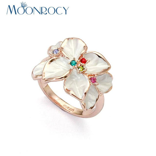 MOONROCY Cubic Zirconia Rose Gold Color CZ Austrian Crystal Rings White Flower Ring for Women Gift Drop Shipping Jewelry Gift