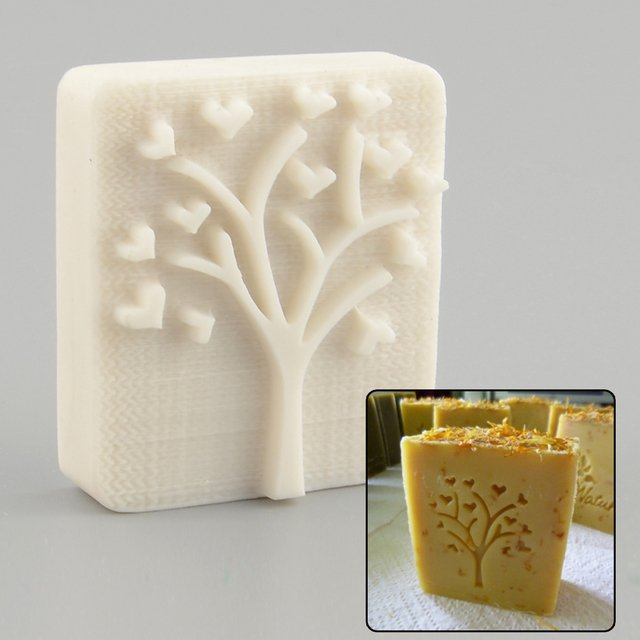 Heart Love Tree Handmade Yellow Resin Soap Stamp Soap Mold Mould Craft Gift