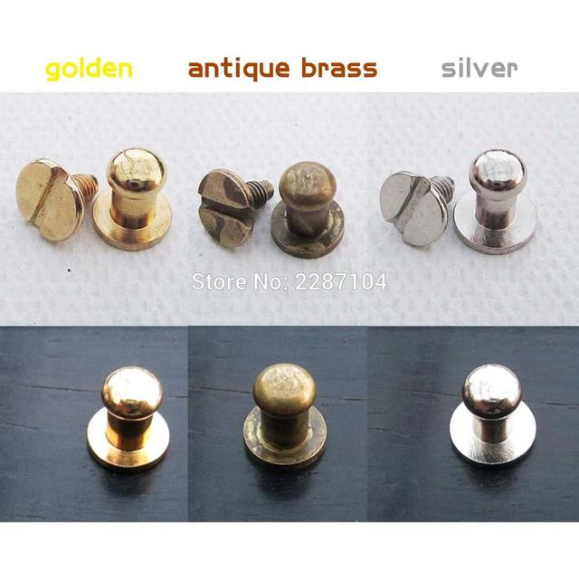 12pcs Mini Pure Copper Round head Screwback Screw Back Jewelry Chest Box Cabinet Furniture Drawer Dollhouse Door Pull Knob 5mm