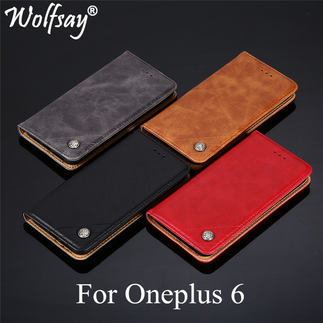 Wolfsay For Oneplus 6 Case Triangle Pattern Flip Cover PU leather & Soft TPU Inside Cases for One Plus 6 A6000 Without Magnets