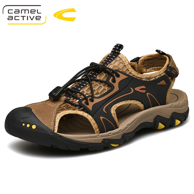 Camel Active 2019 New Men's Sandals Comfortable Breathable Genuine Leather Shoes Men Outdoor Beach Sandals Lightweight Man Shoes