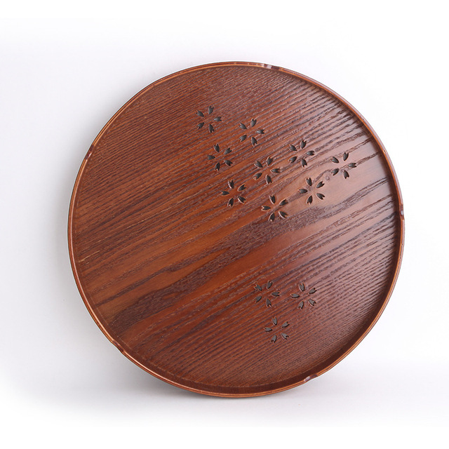 Japanese wooden tea tray/set solid wood round wood plate cherry blossom tea plate fruit disk cherry blossom 30cm