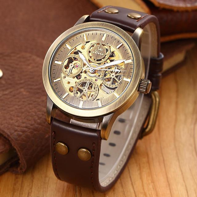 SHENHUA Antique Men Bronze Automatic Mechanical Watch Retro Brass Case Fine Carving Skeleton Dial Leather Strap Wristwatch Gift