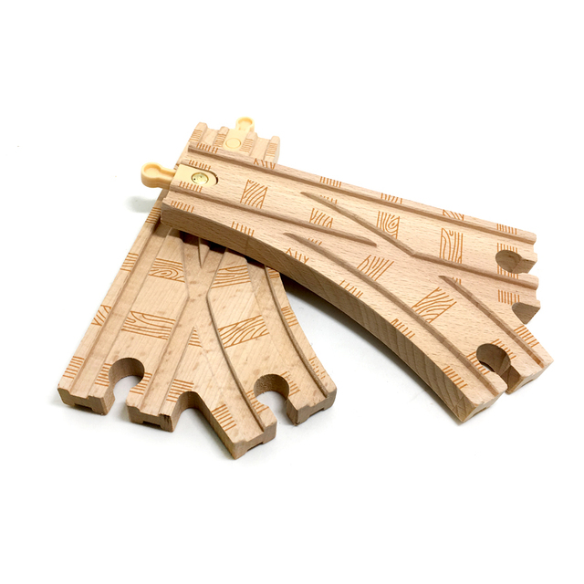 p084 High quality rail single head road bifurcated large track compatible wooden train track game special accessories