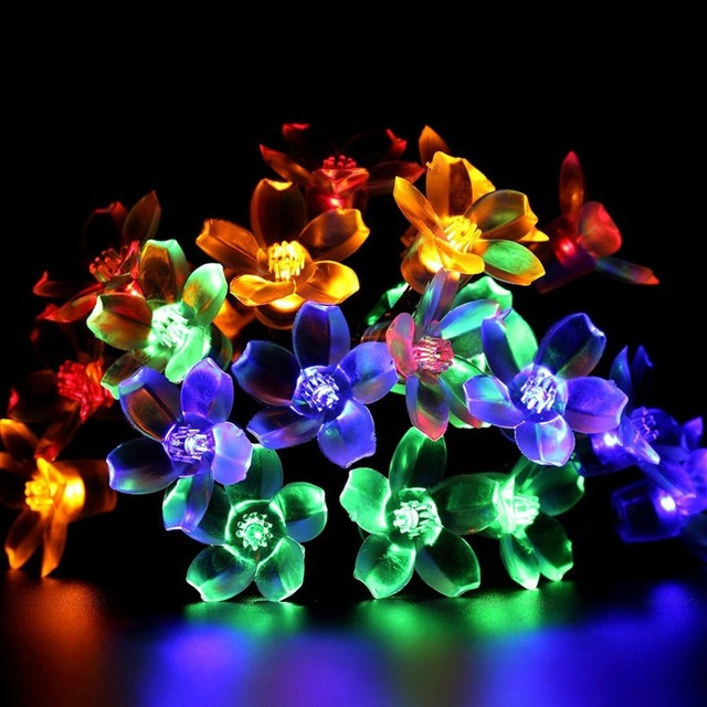 50 LED Waterproof Solar Flower Blossom String Fairy Decorative Light for Outdoor Garden Patio Yard Home Christmas Tree