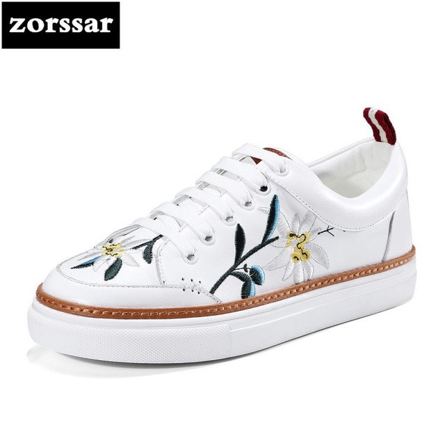 {Zorssar} 2018 Fashion Embroidery Genuine Leather Women shoes flats Casual Shoes Comfortable Flat platform Female sneakers shoes