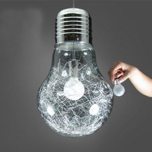"""12""""  Stylish Big Bulb Modle Dining Room Pendant Lamp Free ShippinG New Modern Aluminum Wire inside Glass ball Fixture"""
