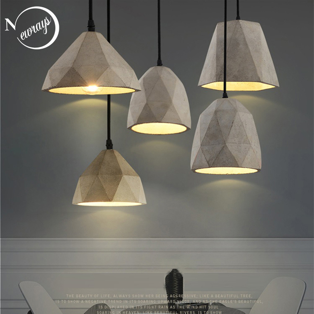 Vintage concrete art deco pendant light E27 LED industrial hanging lamp cement with 5 styles for bedroom kitchen restaurant bar