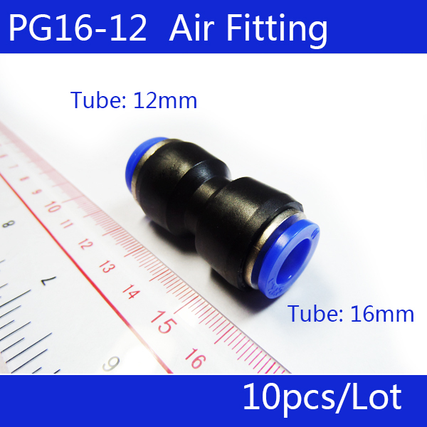 High quality 10pcs PG16-12 Unequal Diameter Air Tube Fitting Straight Union,One Touch Push In Pneumatic Fitting Connectors