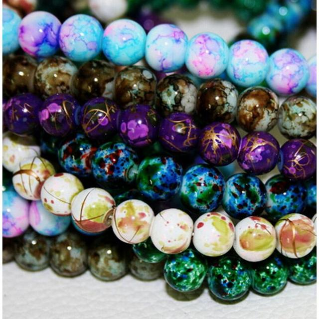 8mm 100pcs/lot Round Beads Assorted Colorful Glass Beads For Jewelry Making Bracelet Necklace DIY Jewelry Findings
