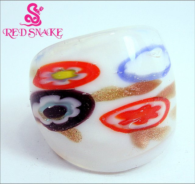 RED SNAKE Fashion Ring Handmade White with flower Murano Glass Rings