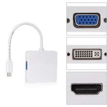 3 в 1 Mini displayport DP Thunderbolt to DVI VGA HDMI адаптер-Кабель Для iMac Mac Mini Pro Air Book
