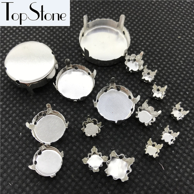 TopStone All Sizes 4~27mm Round Metal Claw Silver/Brass Color Closed/Hollow Back For Setting Round Rivoli Crystal Jewerly Beads