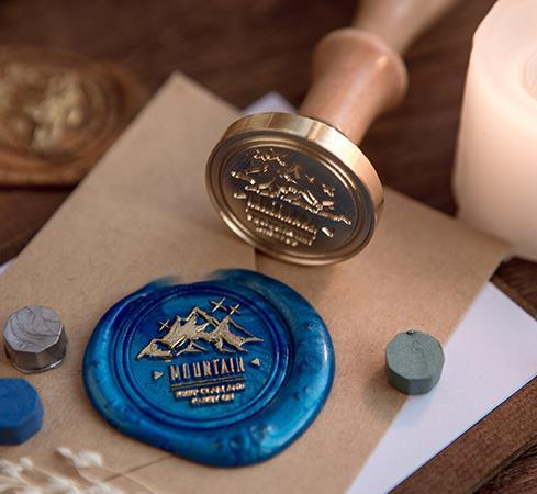 mushroom  Mountain pen Devil's Eye Forest Heartbroken seal stamp with wood handle ,wax sealing stamp for envelop seal