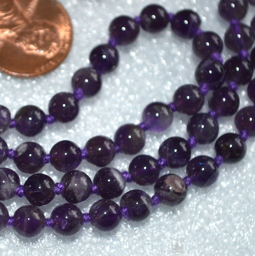 Long Necklace Round Bead Necklaces 108 Purple Quartz Knotted Necklace Natural Stone Hand Knightted Yoga Purple Necklaces Mala
