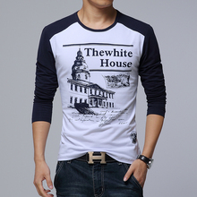 2015 New Arrival Hot Sale Free Shipping Fashion House Slim Men's Long Sleeve O neck T Shirt Casual Shirts For Men breathable