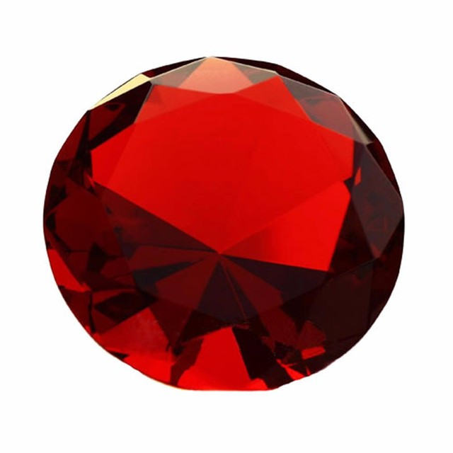 30mm Red 10pcs/Lot Quartz Crystal Diamond Paperweights Crystal Glass Feng Shui Crafts for Home Wedding Decor Birthday Gifts