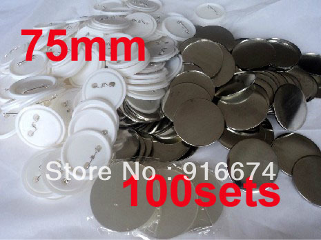 Fast Free shipping Discount  75mm 100 Sets Professional Badge Button Maker Pin Back Pinback Button Supply Materials