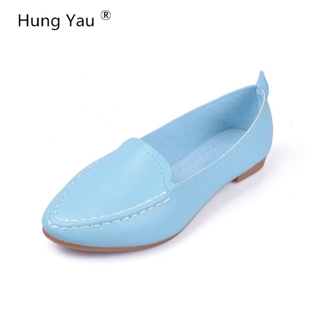 Women Flats Summer Style Casual Solid Pointed Toe Slip-On Soft leather Flat Shoes Soft Comfortable Women Shoes Plus Size 35-40