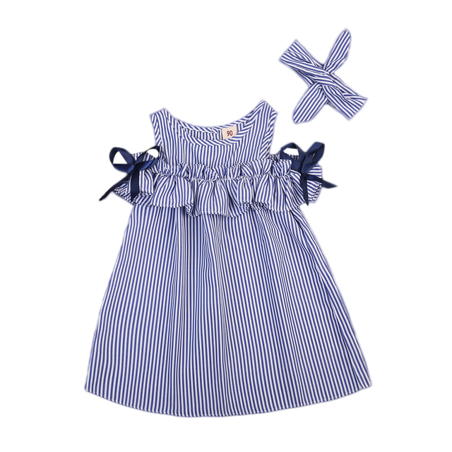 Summer kids Girls Clothes Toddler Baby Kids Off-shoulder Bow Blue striped Party Gown Formal Dress+headband set Baby Girl Dress
