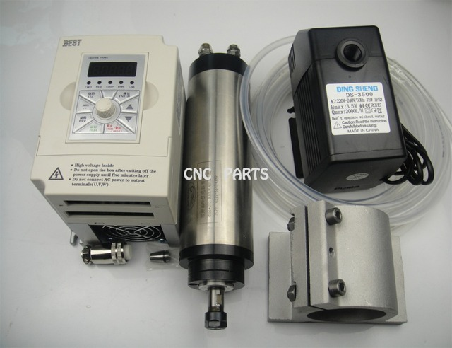 CNC milling spindle  ER11 0.8KW water cooling spindle  +water pump+spindle support