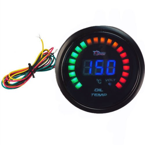 20 LED Analog 52mm Digital Oil Temp Temperature Meter Gauge Universal Car Motor Auto Gauge Car Styling Instrument Free Shipping