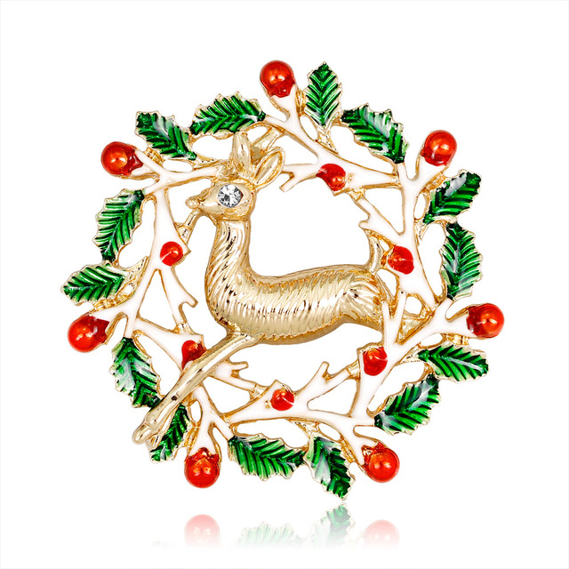 Vintage Crystal Brooch Fashion Christmas Enamel Deer Animal Brooch Pin Gold Color Rhinestone Brooch For Christmas Gift