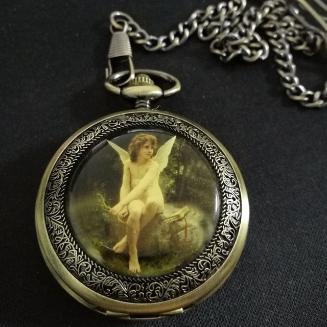 Angle Painting Antique Bronze Mechanical Skeleton Pocket Chain Watch freeship