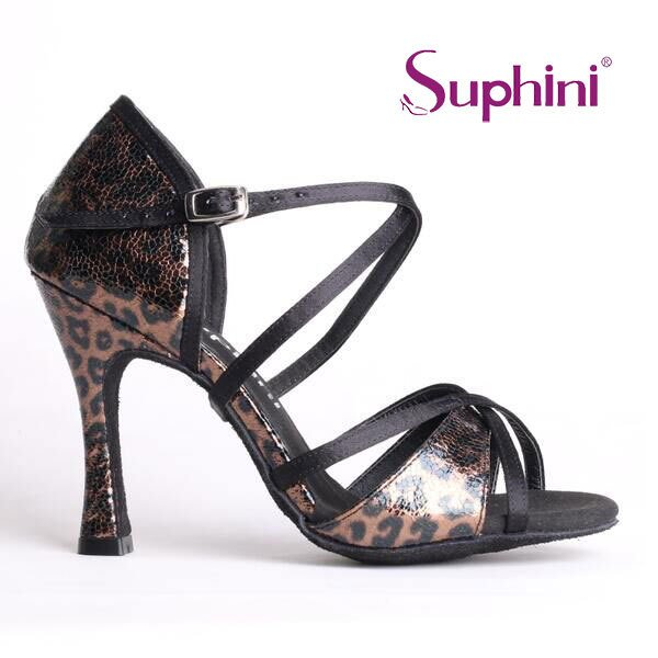 FREE SHIPPING Suphini New Designed Passion Sexy Leopard Bachata Dance Shoes Party/Wedding/Evening Shoes Woman Soft Dance Shoes