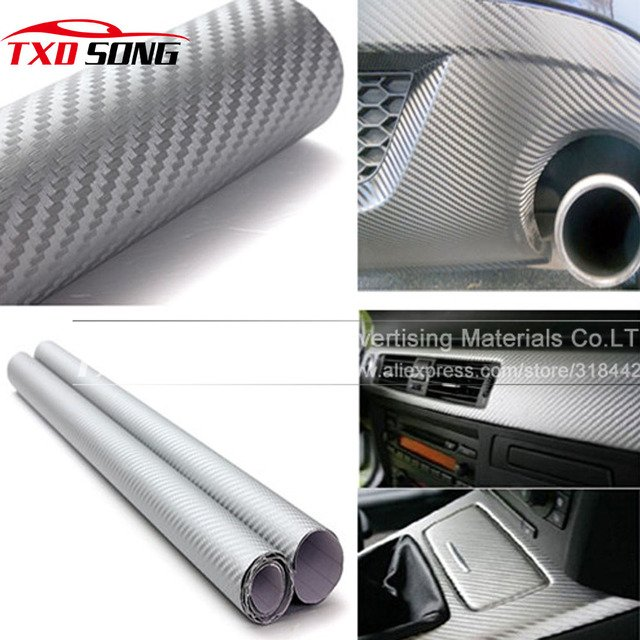High quality 3D Carbon Fiber Vinyl Car Sticker 3D Carbon Wrapping Sticker with air free bubbles 1.52*5M/Roll by free shipping